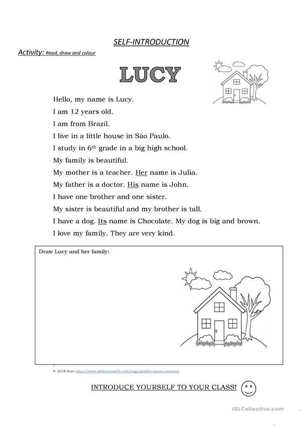 Self-Introduction: Lucy. Read, draw and colour