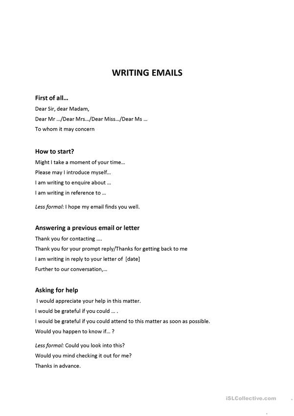 Toolbox: writing email