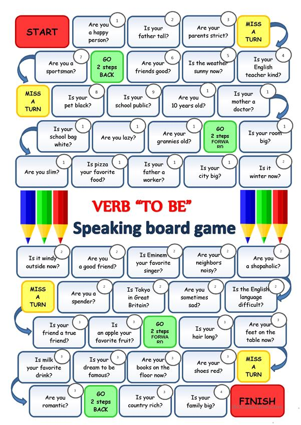 Verb TO BE - Speaking boardgame