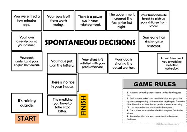 Will - Spontaneous decisions board game