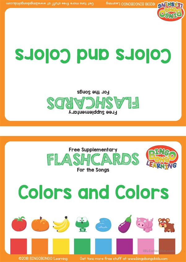Colors and Colors Flashcards - English ESL Worksheets