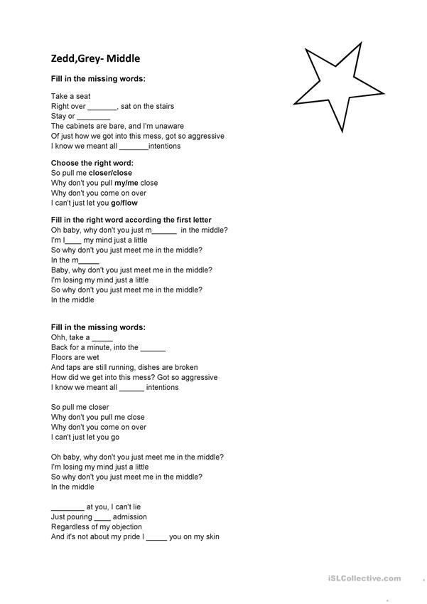 Song Zedd Grey Middle English Esl Worksheets For Distance Learning And Physical Classrooms