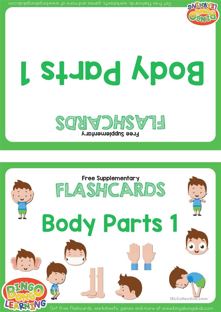 Body Parts Flashcards - BINGOBONGO Learning - English ESL ...
