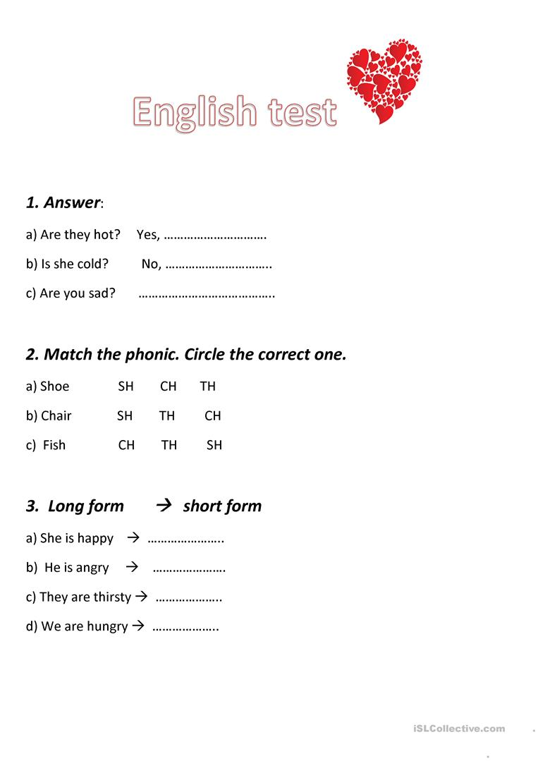 English test unit 2,grade 2 - English ESL Worksheets