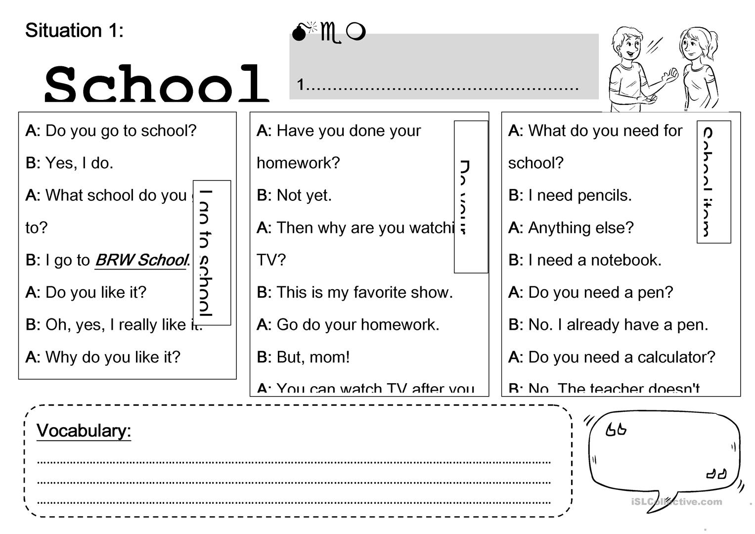 - Situation: At School - English ESL Worksheets For Distance