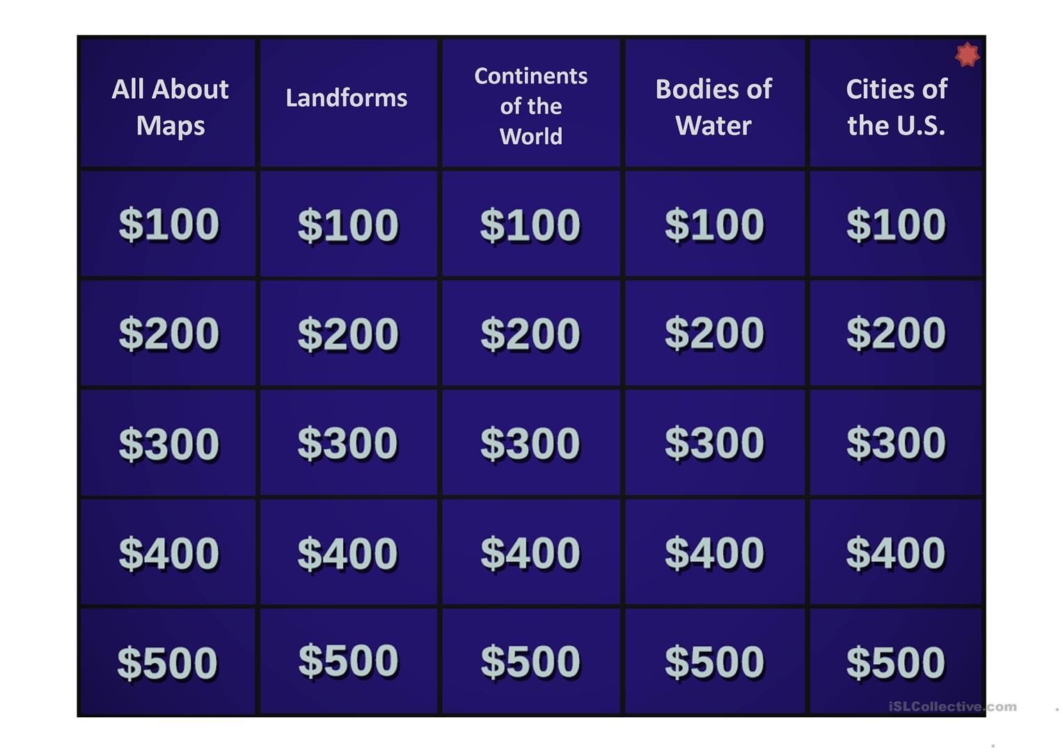 The Ultimate Jeopardy Template Worksheet Free Esl Projectable