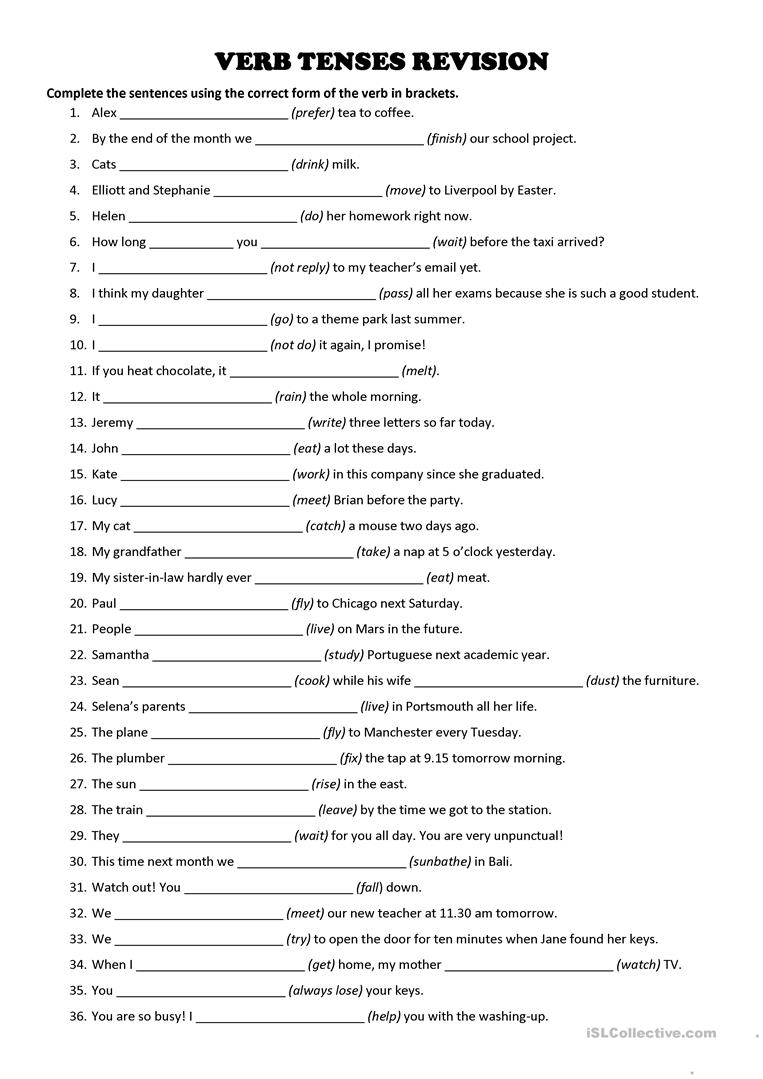 VERB TENSES - Revision Exercise - English ESL Worksheets