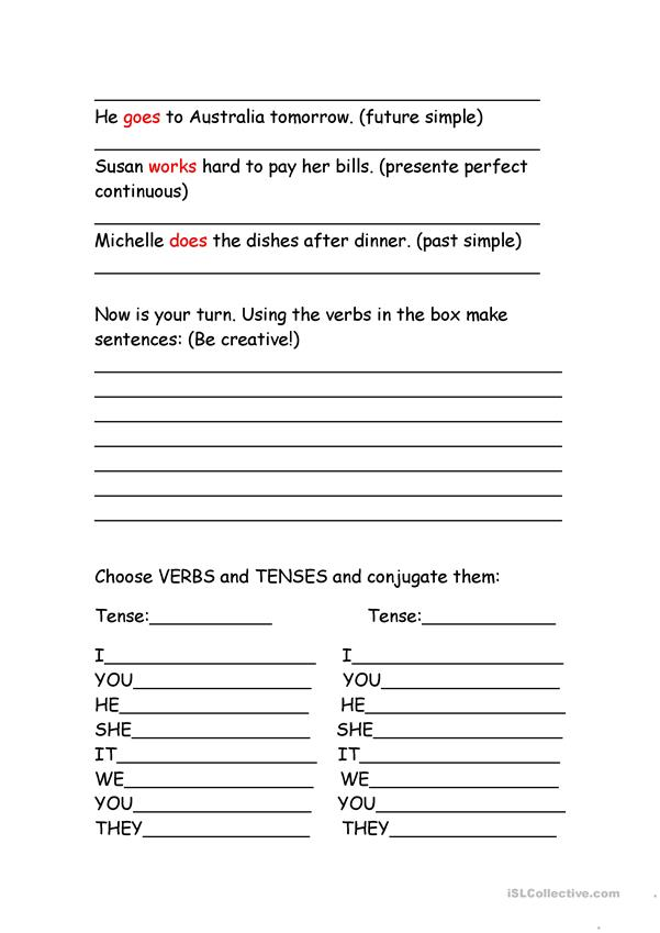 3 WORKSHEETS TO WORK VERBS AND TENSES