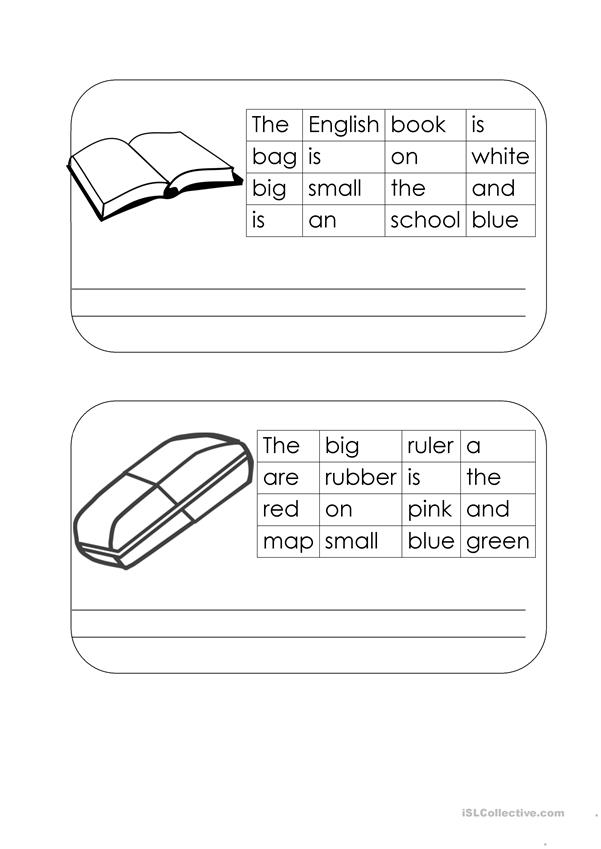 A-maze-ing sentences: SCHOOL THINGS