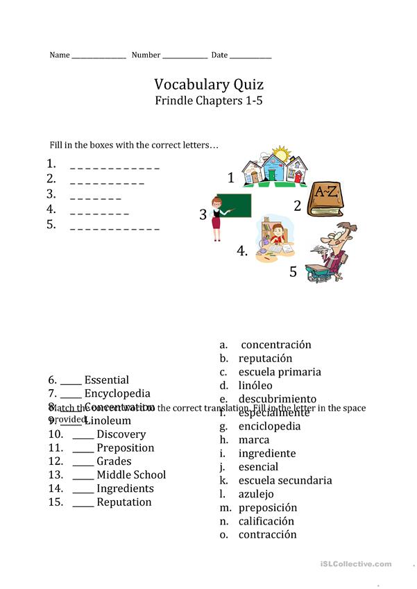 Classroom and Frindle Vocabulary Test/Worksheet