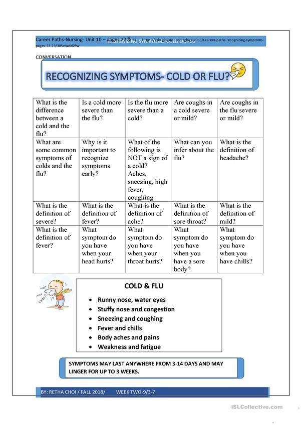 Cold and Flu Conversation