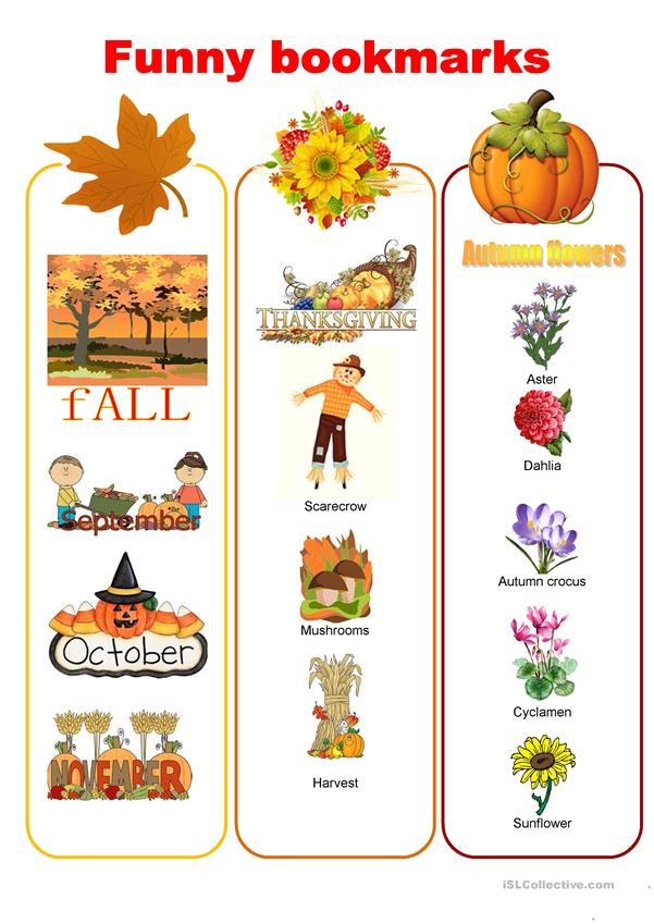 Funny bookmarks - autumn