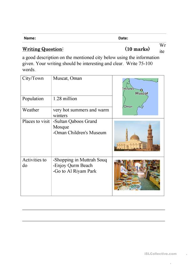 Guided writing - describing a place