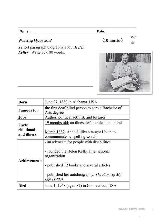 Guided writing - writing a biography ( Helen Keller)
