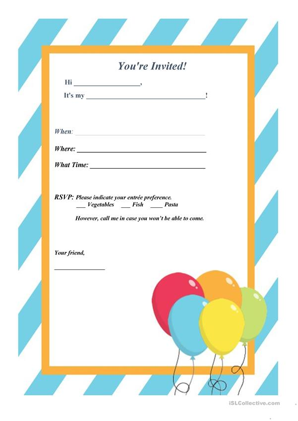 Invitation Letter Party