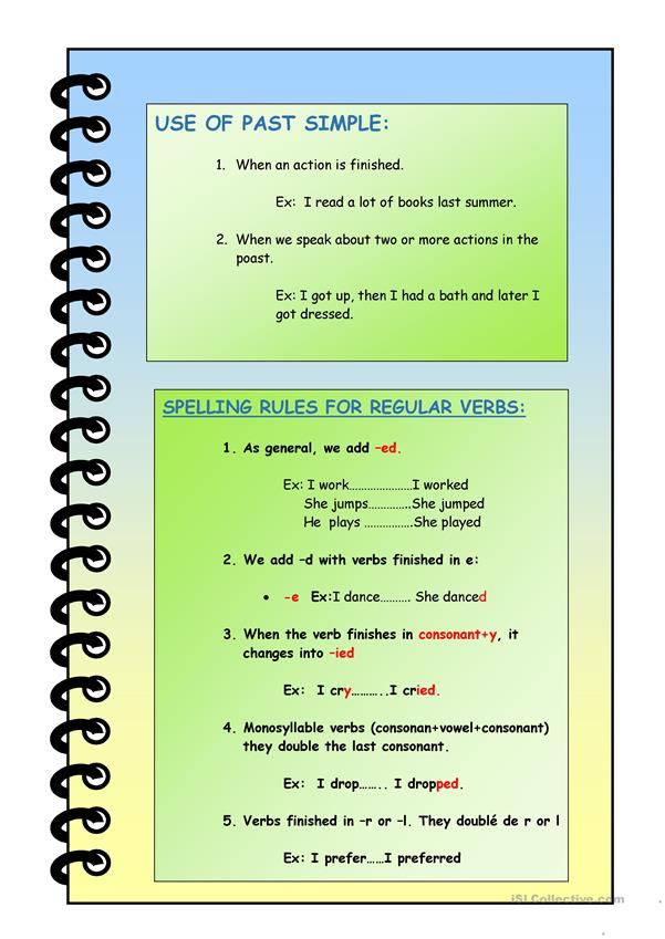 past simple grammar. regular verbs