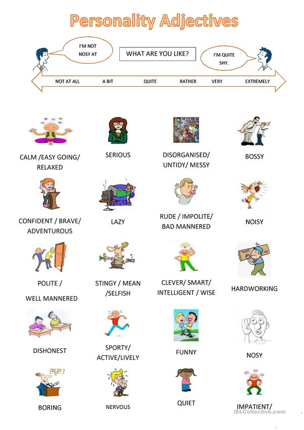 Personality Adjectives (First Day Activity)