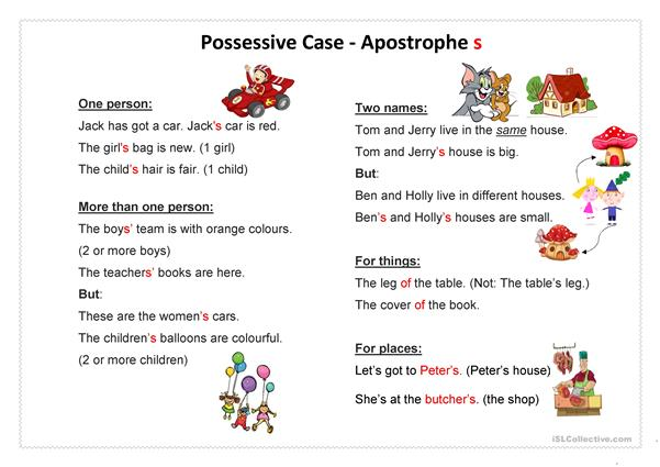 Possessive Case Apostrophe s