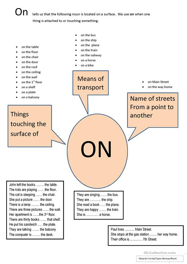 Preposition of place ON