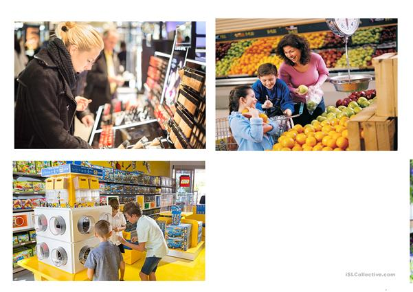 Shopping (Speaking cards, group work)