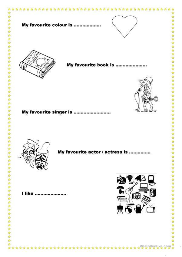 Students can introduce themselves with the help of pictures and sentences.