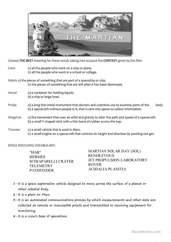 THE MARTIAN (movie worksheet)