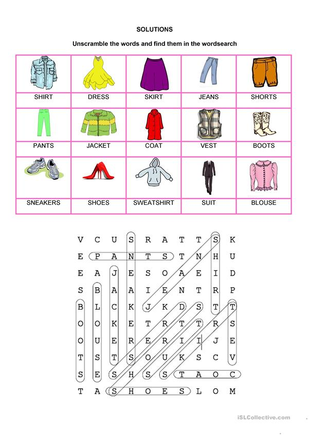 Wordsearch - Clothes