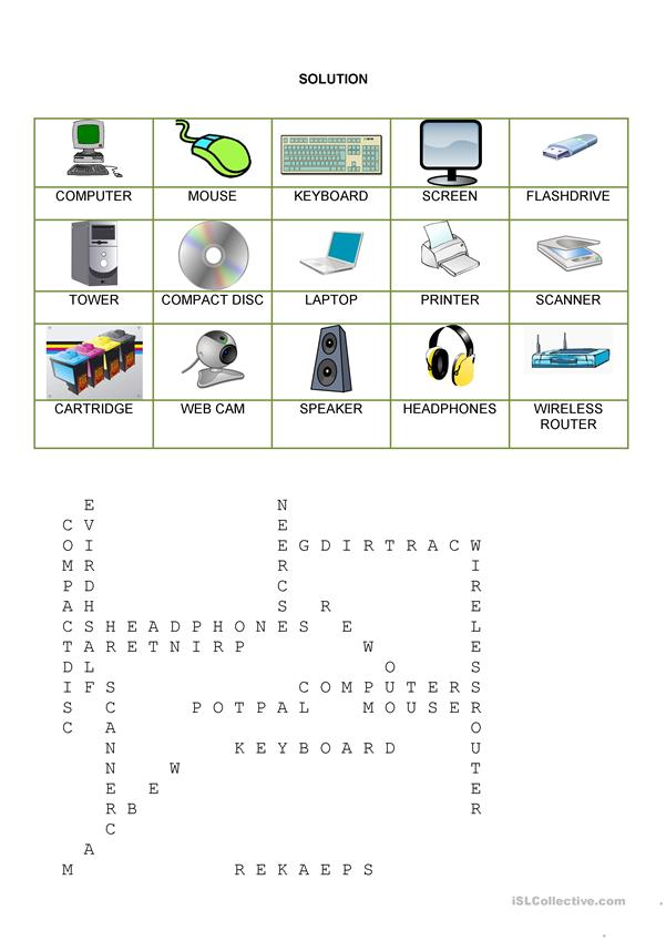 Wordsearch - Computer parts