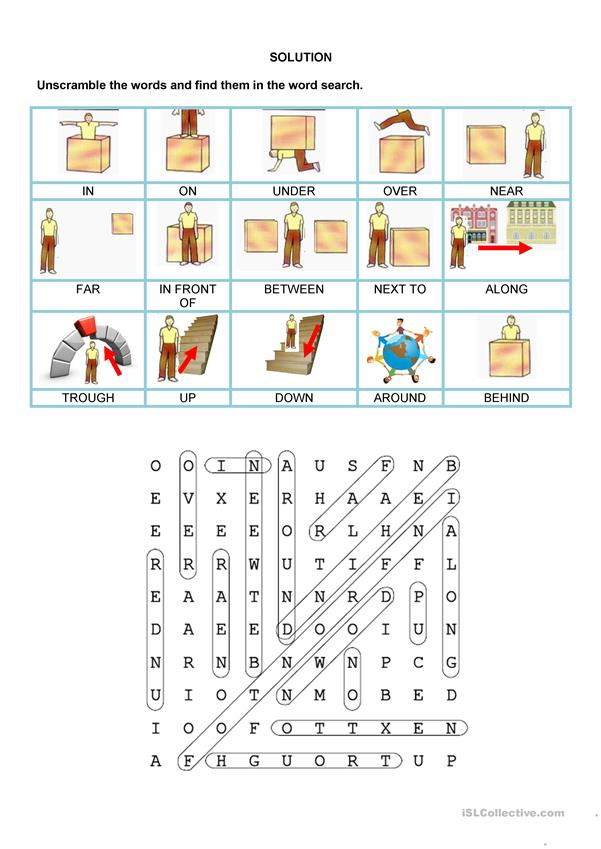 Wordsearch - Prepositions