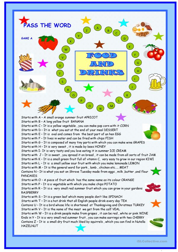 Food Pass The Word Worksheet Free ESL Printable Worksheets Made