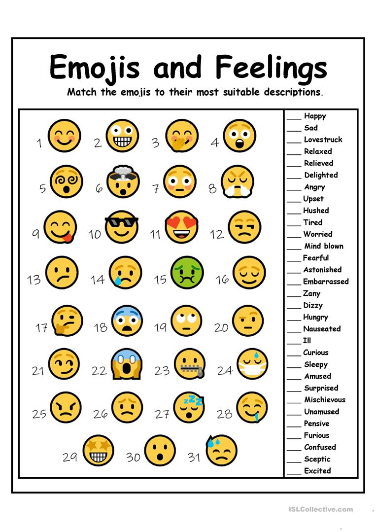 image about Emoji Feelings Printable identify Emojis and Emotions - English ESL Worksheets
