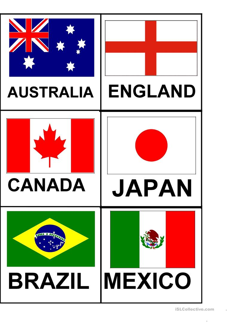 picture relating to Printable Country Flags named Flags and Nations Flashcards - English ESL Worksheets