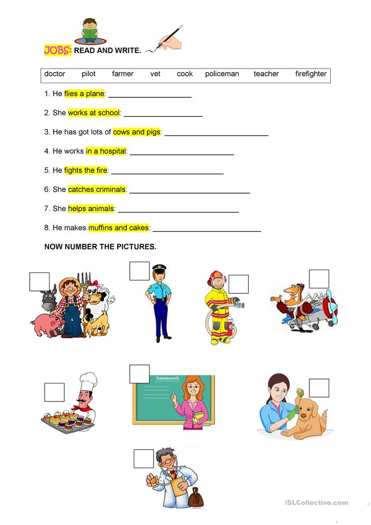 jobs-read-and-write-reading-comprehension-exercises_110208_1 Teaching Basic English Worksheets on differentiation rules, assessment test, sentence structure, grade 10 printable,