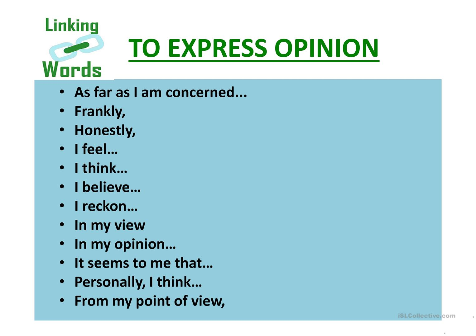 words to express opinion