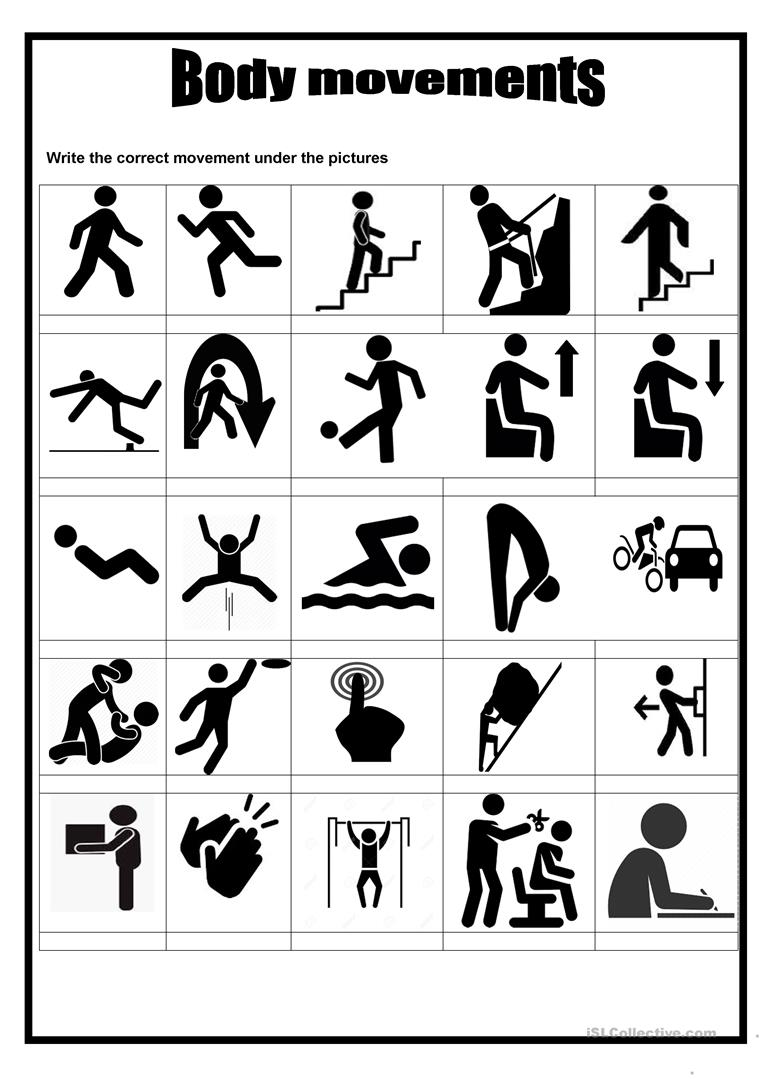 Picture Dictionary Body Movements English Esl Worksheets For Distance Learning And Physical Classrooms