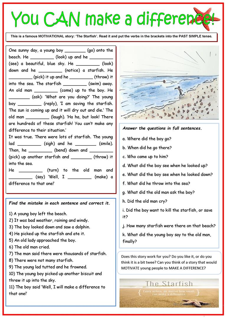 image about Starfish Story Printable known as The Starfish Tale/Your self CAN create a big difference! - English ESL