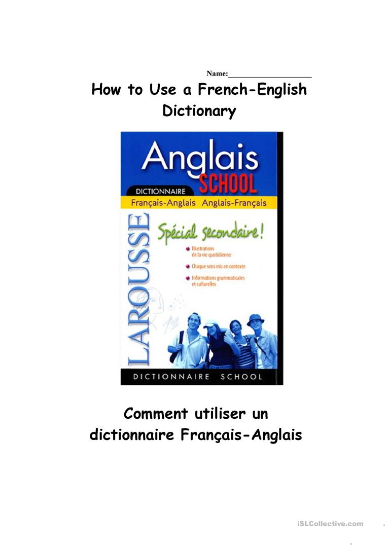 Using A French English Dictionary Worksheet Free Esl Printable