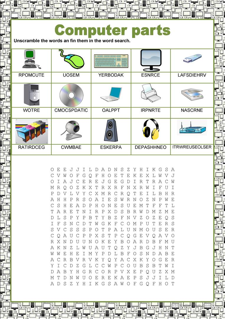 Wordsearch Computer Parts English Esl Worksheets