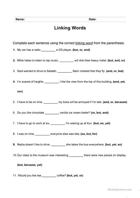 Linking Words Worksheet Worksheet Free Esl Printable Worksheets