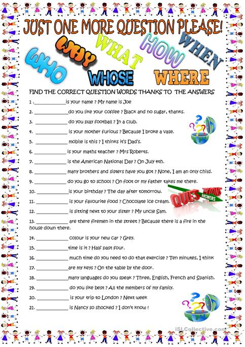 Question words for young learners - English ESL Worksheets