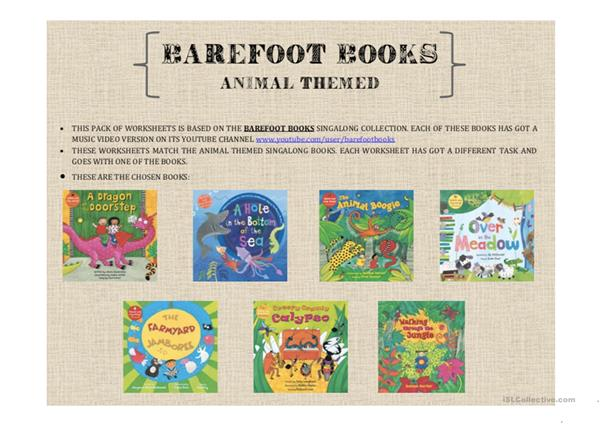 animal themed Barefoot Books worksheets