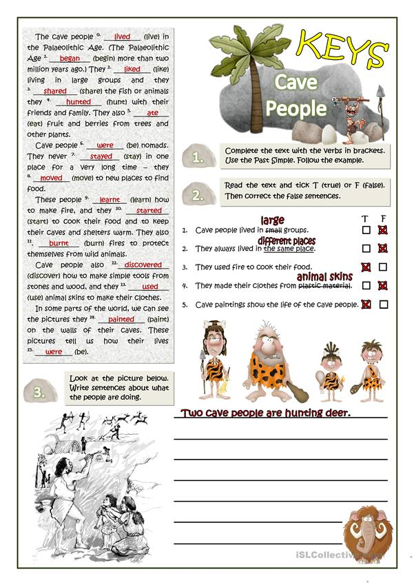CAVE PEOPLE READING AND WRITING - PAST SIMPLE
