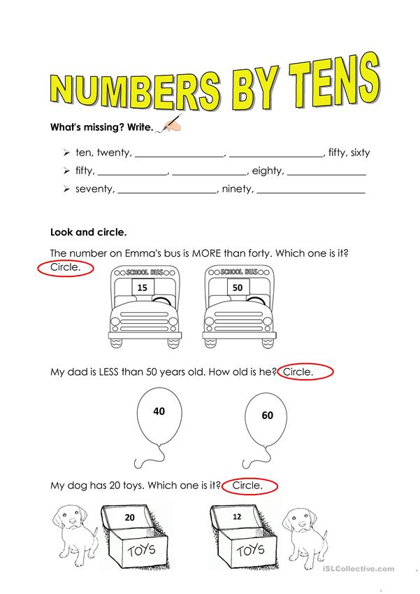 NUMBERS BY TENS
