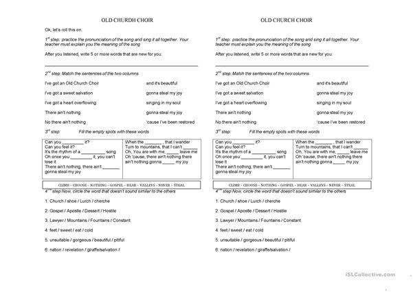 Old Church Choir - Christian Song worksheet - Free ESL printable