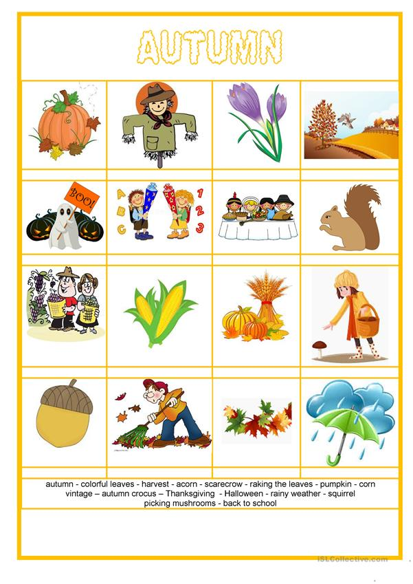 Picture dictionary - Autumn