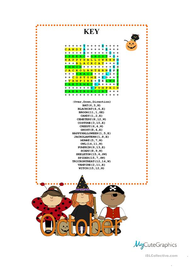 Updated Halloween Wordsearch with KEY