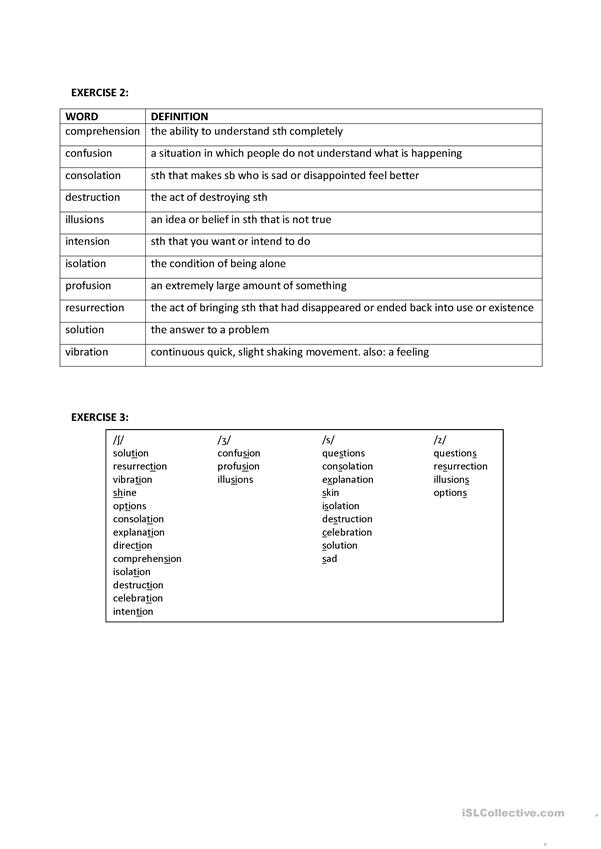 ʃ vs. ʒ vs. s vs. z - Love Profusion pronunciation worksheet
