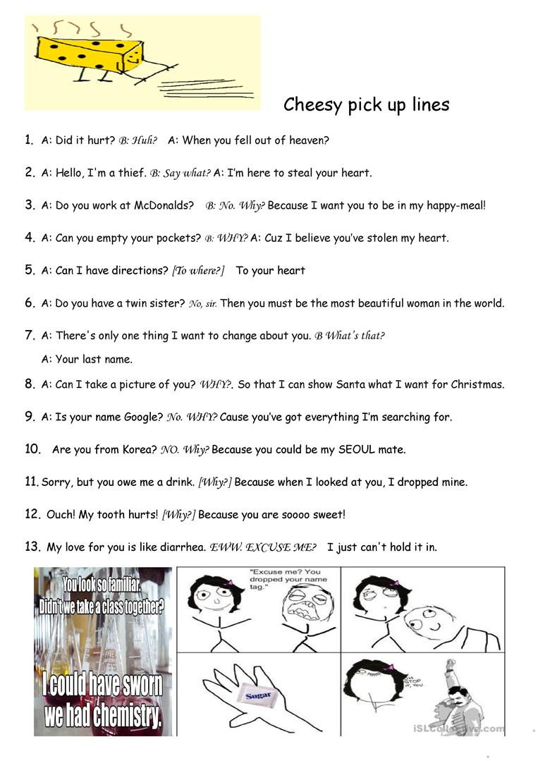 Cheesy Pick Up Lines English Esl Worksheets For Distance Learning And Physical Classrooms