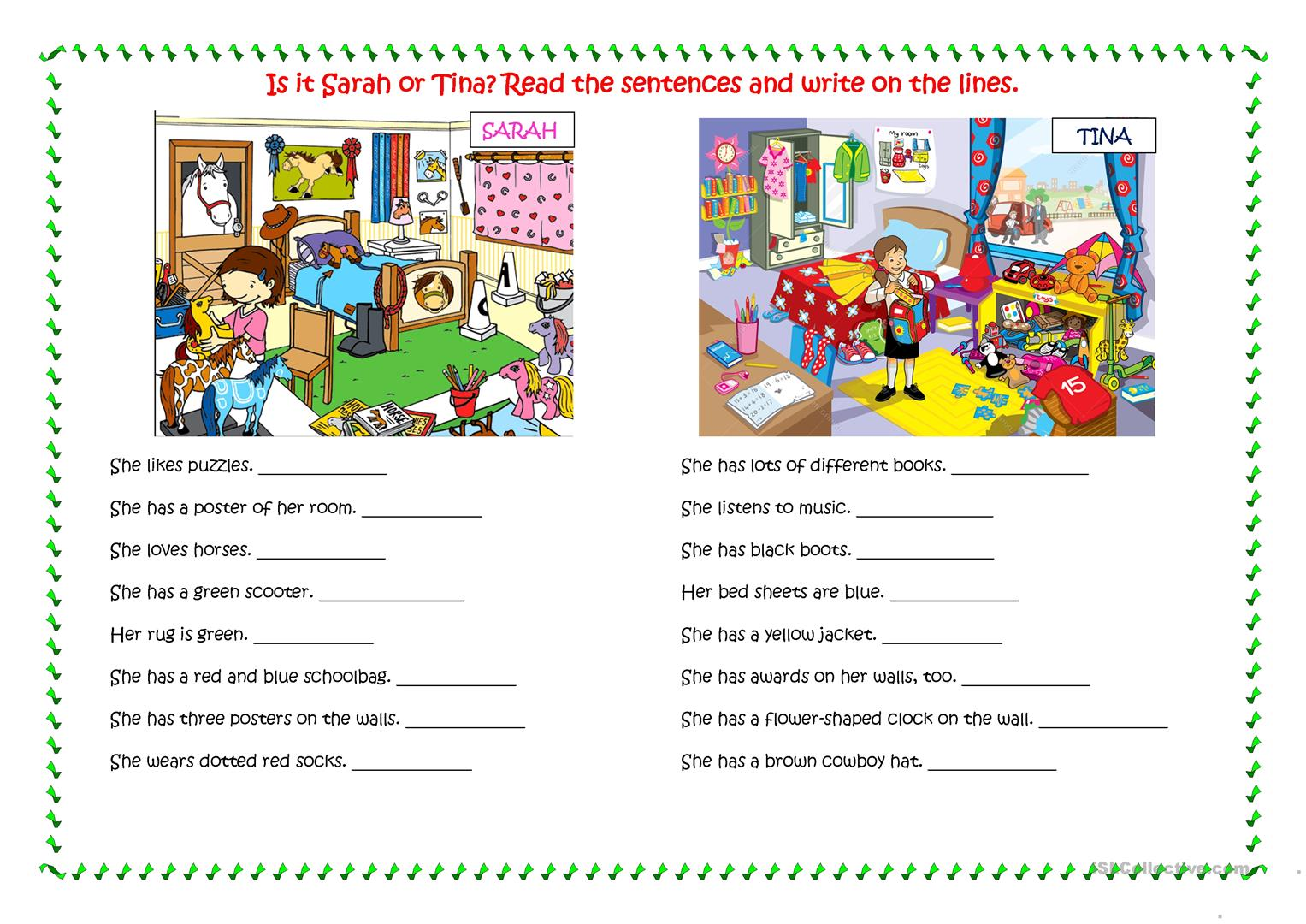 - CHILDREN'S ROOMS - Read And Write - English ESL Worksheets For