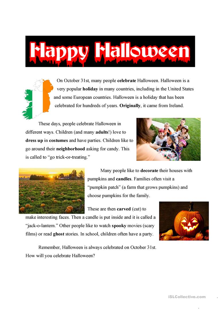 - Halloween Easy Text - English ESL Worksheets For Distance Learning